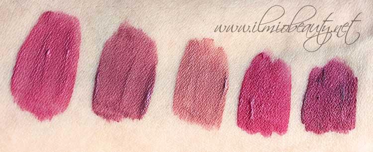 wjcon liquid lipstick makeup artist professional line appena applicati - - Da sinistra verso destra: 02 rosa ciclamino, 04 borgogna, 06 nude, 11 lampone, 13 vinaccia --