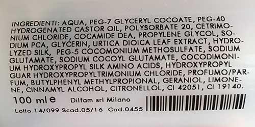 inci shampoo olians