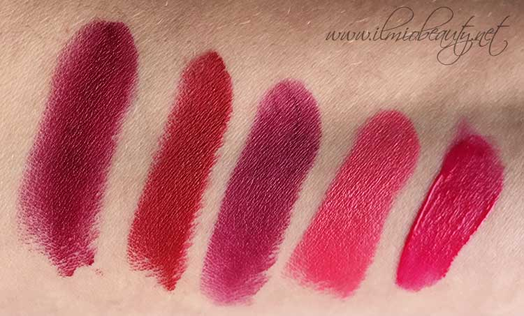 da sx verso dx: Nars Charlotte, Mac Russian red, Pupa Berry violet, Mac Impassioned, Bourjois Olé flamingo