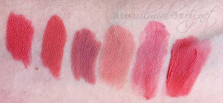 da sinistra. pastello labbra Aragosta Neve Cosmetics, Portrait Nabla, pastello labbra Amore Neve Cosmetics, Ravishing Mac, Crosswires Mac, Peach Club Bourjois