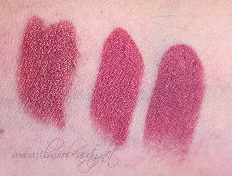 da sinistra: pastello labbra Amore Neve Cosmetics, Ombre Rose Nabla, Mehr Mac
