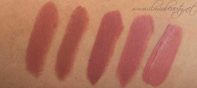 da sinistra verso destra: Mac Taupe, Mac Persistence, Nabla Balkis, Mac Twig, rossetto liquido Wjcon (l.e. makeup artist) 06 nude